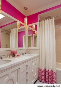 white bathrooms, pink bathrooms and shower curtains.