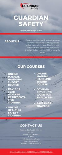 To learn more about our workplace health and safety training courses, contact Guardian Safety today. Book Training Online Course Now. We also offer training by experts COVID-19 Lead Worker Representative Training, Manual Handling, COVID-19 Return to Work...