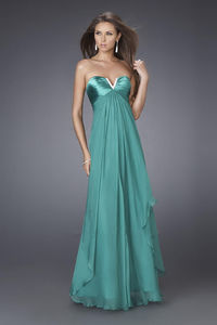 Cheap V-Cut Strapless Long Green Prom Dresses for Cheap