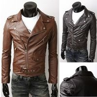 Men's PU leather biker jacket $39.95