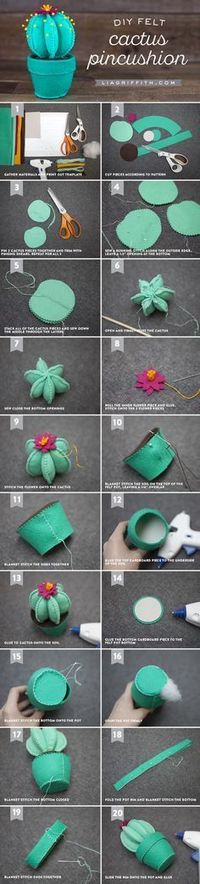 Follow our easy step-by-step photo tutorial to craft your own felt cactus pincushion to decorate your sewing table or use as desk decor at the office!