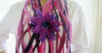 Felted scarf with felt flower, felted belt, lilac-pink, scarf ca. 68 x 5 inch., felted flower 3 layers ca. 6 inch., 100% wool, OOAK, felted. �'�55.00, via Etsy.