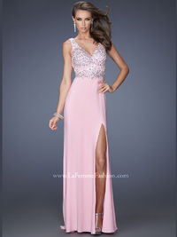 Pink Stunning Jersey Floor Length Prom Dress Gigi With Side Slit