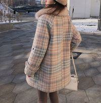 Winter Warm Elegant Wool Plaid Women Coat,NEW,on Sale!