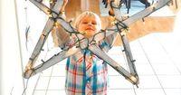 5 yardsticks + string lights = 1 adorable Christmas picture!!