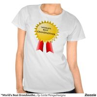 """Red and yellow """"World's Best Grandmother"""" award ribbon t shirt"""