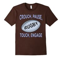 Men's Crouch Pause Touch Engage Rugby Ball Tee Shirt 2XL Brown Rugby.Tshirts....