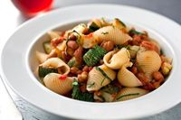 You can use canned beans for this dish, but if you happen to have cooked pintos or borlottis in broth, use the broth for the pasta sauce.
