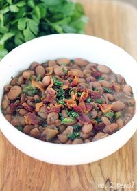 This weekend we grilled tri-tip and I made these homemade Mexican-style Beans with Bacon and Jalapeno, and they were so delicious. (Sidenote: Have you had a tri