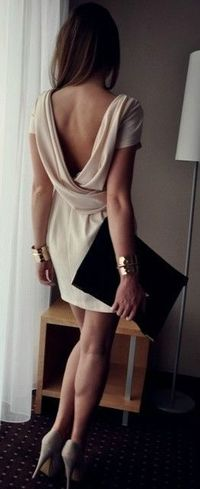 Backless tan- Perfect date night outfit! Gorgeous