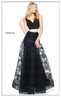 Sherri Hill Black 51163 Two Piece Formal Dress For Prom
