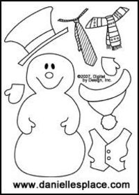 Label the snowman cut and paste activity sheet. There are a lot of other really cute snowmen ideas at this site too!