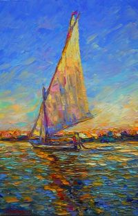 Along the Nile ( SOLD), a Oil on Canvas by Sergej Ovcharuk from United Kingdom. It portrays: Sailboat, relevant to: sailboat, sunset, Egypt, impresionism, Palle