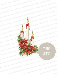 Christmas PNG Graphics, Vintage Christmas Clipart, Candle Clipart PNG, Digital Download, PNG Christmas