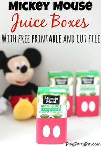 Easy DIY Mickey Mouse Juice Boxes with Free Printable and Cut File from playpartypin.com #MickeyMouse #freeprintable #party