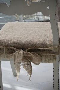 burlap chair pads- for my kitchen chairs