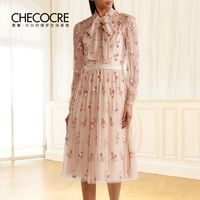 Attractive Embroidery Bow Tulle It Girl Frilled 9/10 Sleeves Dress - Bonny YZOZO Boutique Store