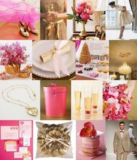 I've been wanting to do an inspiration board in these colors for awhile, and the gorgeous photo of the gold shoes and hot pink tulle was just the push I needed