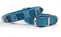 Turquoise Leather Dog Collars | Small Dog Collars | Leather Cat Collars | Chihuahua Collar | Western | Leash available $35.00