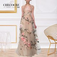 Attractive Embroidery Slimming A-line Square Sleeveless High Waisted Tulle Dress - Bonny YZOZO Boutique Store
