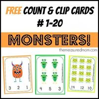 Free monster math! Count & Clip Cards for preschool and kindergarten