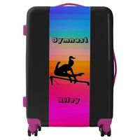 Girls Gymnast Gymnastics Personalized Uneven Bars Luggage - Add the name of your gymnast on this beautiful luggage piece. Great for traveling to gymnastics meets, family vacations or camps.