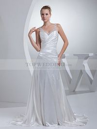 SEQUINED SHEER STRAP ELASTIC SATIN WEDDING GOWN