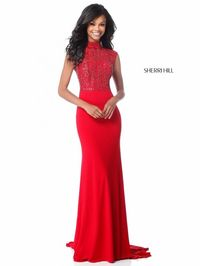 SOPHISTICATED RED CHEAP SHERRI HILL SPRING 51876 CAP SLEEVE LONG EVENING GOWN