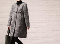 winter Plus size Loose wool coat/ gray
