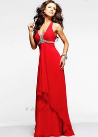 Long Chiffon Red Crystal Beaded V Neck Low Back Evening Dresses