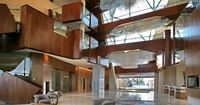 Sparkling Hill Resort: Sparkling Hill Resort's three-story glass atrium is hung with shimmering crystal chandeliers.