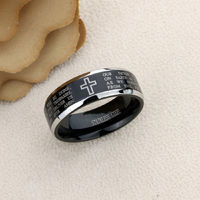 Stainless Steel Wedding Band Men Women, 8mm Lord's Prayer with Cross Praying, Stainless steel Promise Ring Men Women, Stainless Steel Band $41.00