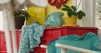 red, teal, yellow... LOVE this and also the color scheme