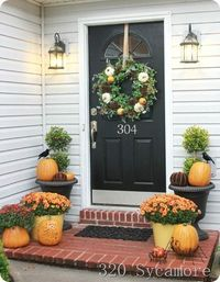 autumn front porches, house numbers and front porches.