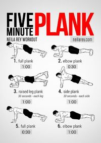 The Five-Minute Plank uses relative inactivity to challenge the abdominal muscles and strengthen them. In five minutes you get to exercise as many parts as poss