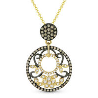 0.46ct Brown & White Diamond Pave Pendant & Chain Necklace in 14k Yellow & Black Gold - AM-DN4375