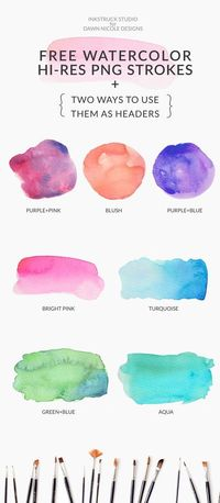 Free Watercolor Brushstroke Graphics that you can use as blog headers, logos and more. There are 7 designs in hi-res PNG files all for free. Enjoy!