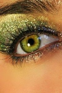 Green and gold glitter, #greeneyes