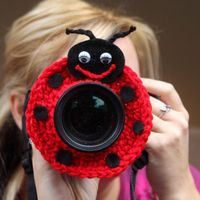 Camera lens buddy. Crochet lens critter ladybug. Photo prop. $13.99, via Etsy.
