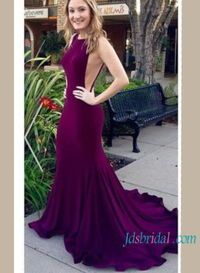 Purple open back mermaid evening prom gowns