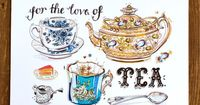 Tea Art Print. Illustration. teacups. teapot. English country chic. Kitchen decor. Dorm Decor. Gift for her. Home decor. Love and tea. 8x10