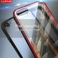 Luphie Protective Case For iPhone 7/7 Plus/8/8 Plus Gradient Color Scratch Resistant Tempered Glass+Aluminum+TPU Back Cover - iPhone 7 Plus/8 Plus Transparent Silver