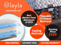At Layla find the best memory foam mattress of 2019. The starting price of our cooling mattress at $599. With cheap prices, you also get a 120 nights trial period and free shipping. https://laylasleep.com/product/layla-mattress/