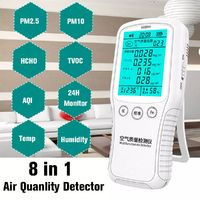8 in1 Digital Formaldehyde Detector PM2.5 PM10 Gas Analyzer Air Quality Monitor