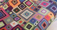 Crochet ~ Babette Blanket ~ Various sized granny squares meshed together. Great stash buster!!