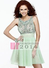 High Neck Jewels Sequined Green Short Homecoming Dress