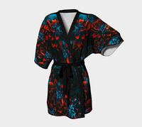 Red petal flower Kimono Robe / Silk Kimono / Japanese Kimono women / Japanese Kimono Robe / Kimono Dress / Vintage Kimono Robe / Kimono Gown $89.00