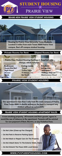 Student housing can be easy to locate in Prairie View with the help of PRAIRIE VIEW STUDENT HOUSING. Multiple student rental properties are available near the main campus of Prairie View Texas A&M. See: https://pvstudenthousing.com/