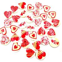CLEARANCE Pack of 50 Round Assorted Beige Red Heart Buttons. 20mm Valentine's Day Love Dress Maker Sewing Fasteners £8.99