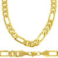Men's Luxury 14k Gold Plated 6mm Bling Solid Figaro Chain Necklace £21.54
